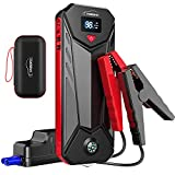 Car Jump Starter, YABER 2500A Peak 23800mAh Jump Starter Battery Charger(up to 8.0L Gas, 8.0L Diesel Engine) 12V Portable Jumper Battery Booster with Jumper Cables, Reverse Charging Tech,Safety Hammer