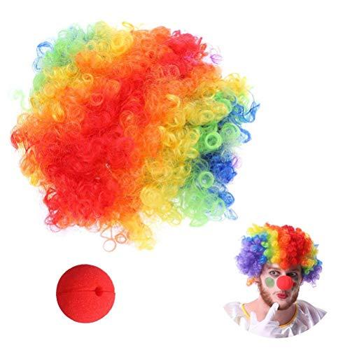 BESTOYARD Clown Kostüm Perücke und Nase für Erwachsene Kind Weihnachten Party Dress Up