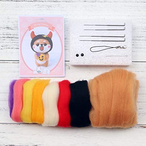 KJ-KUIJHFF Kit de fieltro de lana para perro, kit de manualidades de fieltro de aguja hecho a mano