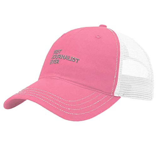 Custom Trucker Hat Richardson Best Journalist Ever Embroidery Cotton Soft Mesh Cap Snaps Pink/White Design Only