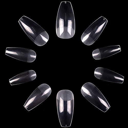 Makartt 500Pcs Ballerina Nail Tips, Matte Full Cover Coffin Nails Clear Press on Nails Acrylic Nail Tips False Nails Fake Nails with Bag, 10 Sizes