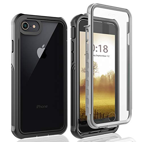 iPhone SE 2020 Hülle, iPhone 8 Hülle, iPhone 7 Hülle, iPhone 6s Hülle, Transparent Hülle 360 Grad Rundumschutz mit Eingebautem Displayschutz Bumper Case Schutzhülle Handyhülle für iPhone /8/7/6s/SE