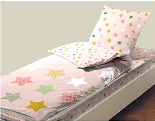 Bleu Câlin Caradou - Set di biancheria da letto per bambini, 4 pezzi, con trapunta, colore: Pesca Loula 90 x 190 cm