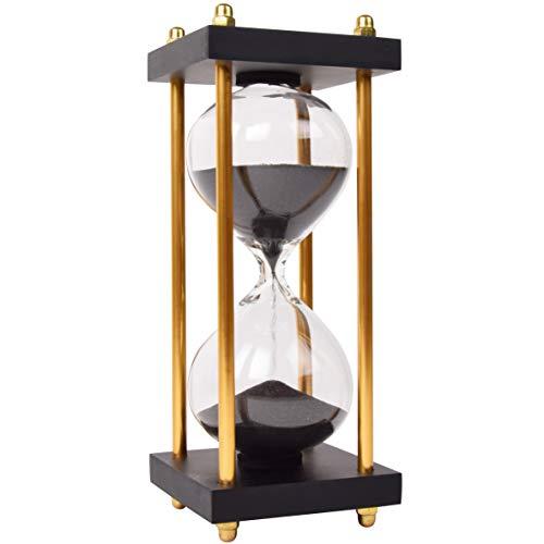 Elegante reloj de arena de 15 minutos, cronómetro, reloj de arena decorativo de cristal con fina arena negra brillante refinada con soportes laterales dorados.