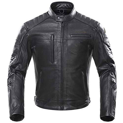 Giacca da Motociclista Uomo Vintage in Pelle retrò Antivento Antivento Impermeabile Giacca di Motocross Nero K-8558 L