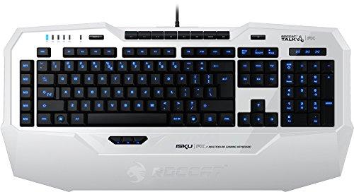 ROCCAT Isku FX Multicolor Gaming Tastatur (DE-Layout, Multicolor Tastenbeleuchtung, 36 Makrotasten inkl. 3 Thumbster-Tasten) weiß