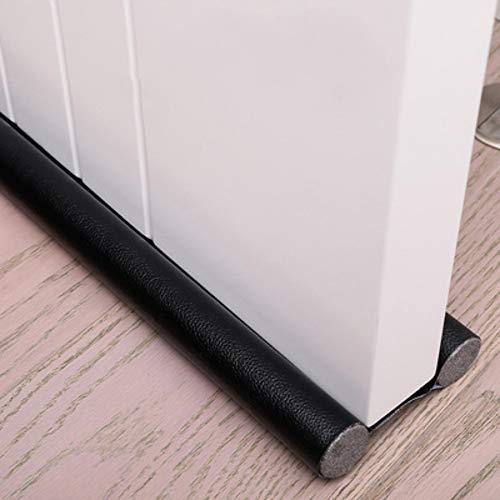 96 cm Zugluftstopper unter der Tür Fenster unten Dichtungsstreifen Noise Blocker, abwaschbare schneidbare Lederrohre Füllen Sie mit EPE für Innentüren und Fenster Stop Drafty (1 Artikel Schwarz)