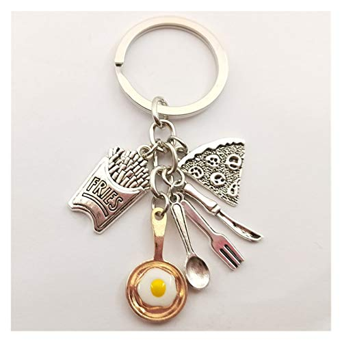 Key Chain 1pc Food Key Ring Egg frying pan French Fries Pizza Keychain Cute Key Chain Toys Gift KeyRing Foodie (Color : Gold)