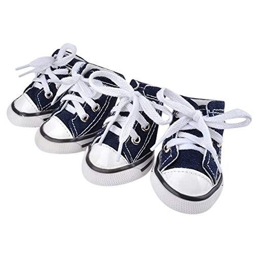 HoneyJuan huisdier hond schoenen hond laarzen huisdier hond puppy sportieve doek schoenen laarzen blauw Denim Canvas Sneaker schoenen hond kerst accessoires huisdier poten beschermers, L, Blauw