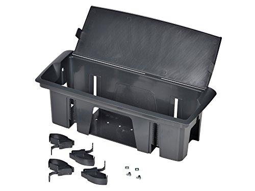 Kopp 939640010 Versa Basket inbouw-stekkerdoos met deksel voor verborgen opbergen van stekkerlijsten en kabels in meubels of werkbladen, kunststof, wit grafietgrijs