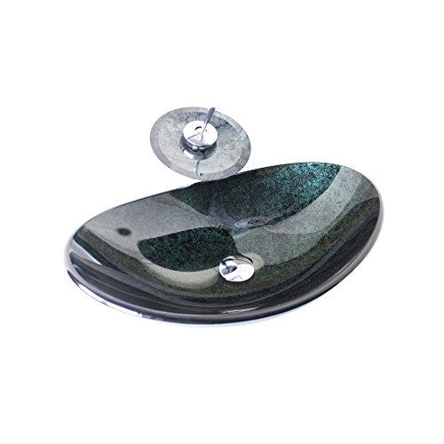 HomeLava Modern Waschbecken Set Gehärtetes Glas Oval mit Wasserfall Wasserhahn, Ablaufgarnitur und Montagering