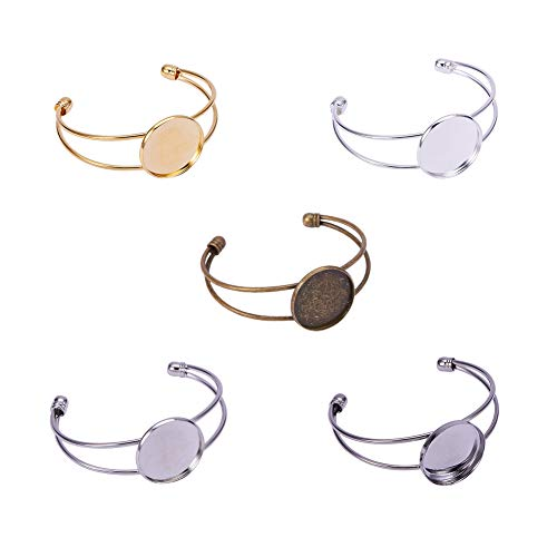 PandaHall Elite - 10er Set Messing Armband Charms Messing Armband Manschette Armband Machen Set mit Flat Top Runde Cabochon Armband Basis, 5 Farben, Tablett: 25mm; 60x6~13mm