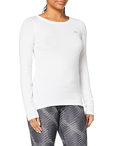 Under Armour Women's HeatGear Armour Long-Sleeve T-Shirt , White (100)/Metallic Silver , Medium