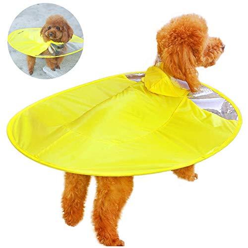 CKAN Hunde-Regenjacke mit Kapuze, leicht, mit UFO-Form, ideales Geschenk für mittelgroße und kleine Welpen, Gelb
