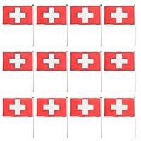 aternee 12個の小さな国旗のパック手振りる旗バナー14x 21cm - スイス