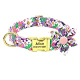 Beirui Personalized Female Dog Collars for Girl Dogs - Custom Pet Dog Collar with Flower for Small Medium Large Dogs - Soft Floral Engraved Collar (Purple, L)