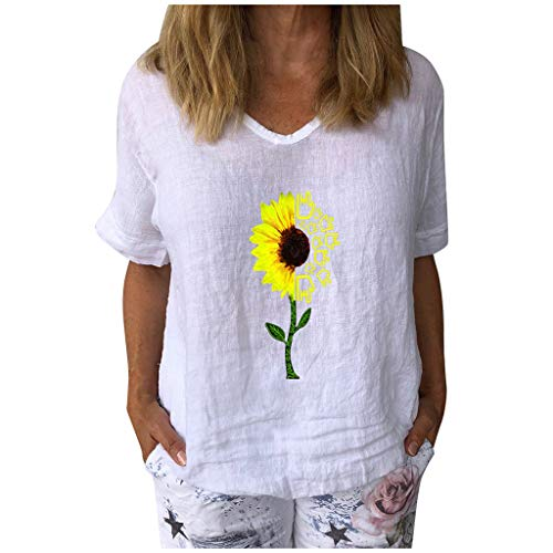 Affordable Dosoop Sunflower Print Linen Shirts Women Summer Short Sleeve Basic V Neck Loose Casual T...