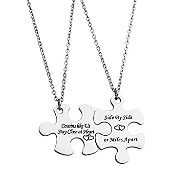 JINGMARUO BFF Necklace Set for 2 Best Friends Like Us Stay Close at Heart Set of 2 Bestie Gift Sister Necklace Long Distance Friendship Gift  Cousins Like Us Stay Close at Heart-Puzzle