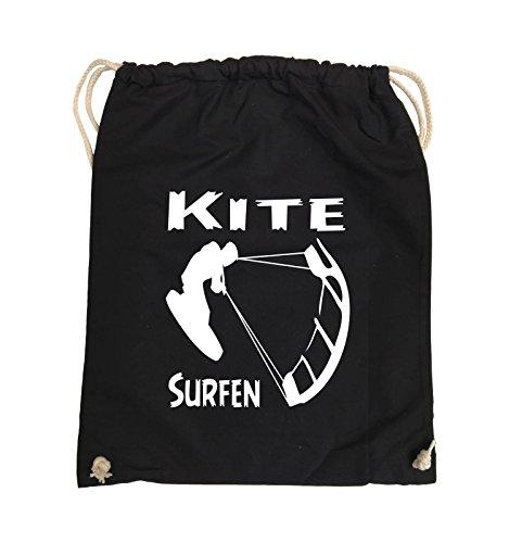 Comedy Bags - Kite SURFEN - MOTIV1 - Turnbeutel - 37x46cm - Farbe: Schwarz/Weiss