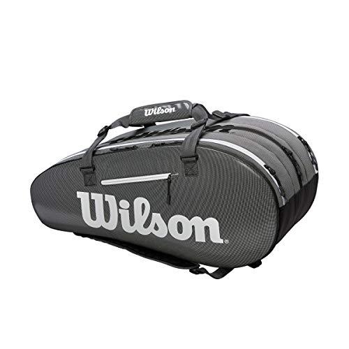 WILSON Super Tour Tennistasche mit 3 Fächern, Schwarz/Grau