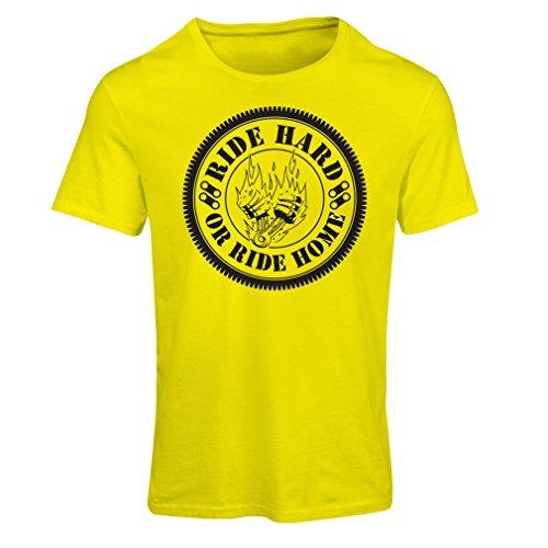 Maglietta Donna Ride Hard! Biker Clothing (Medium Giallo Multicolore)