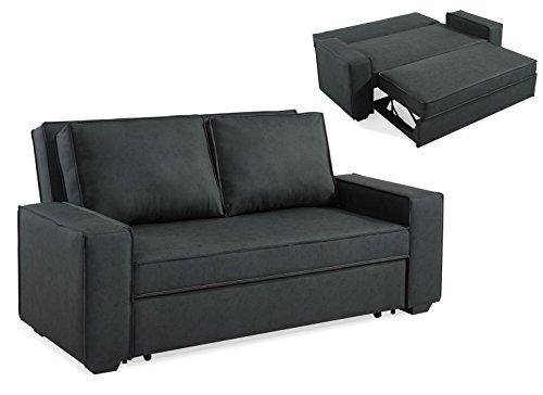 Mobilier Deco Canapé 3 Places Convertible Gris RAPIDO