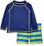 Amazon Essentials Infant Boys Long-Sleeve Rashguard and Trunk Swimsuit Sets, 2-Piece Blue Rugby Stripe Set, 12 Months
