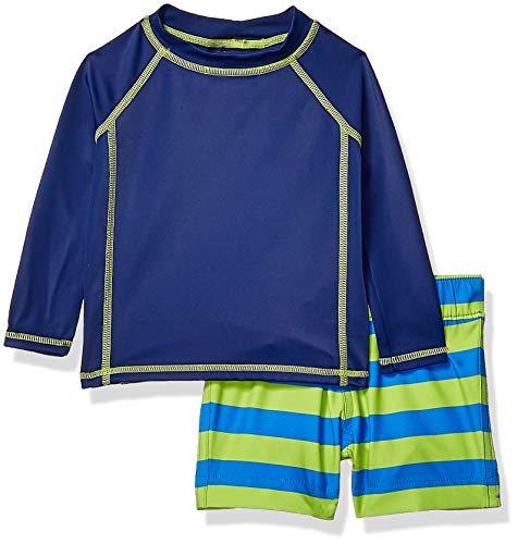 Amazon Essentials 2-Piece Long-Steeve Rashguard and Trunk Set Rash Guard, Blue Rugby Stripe, 9 Months