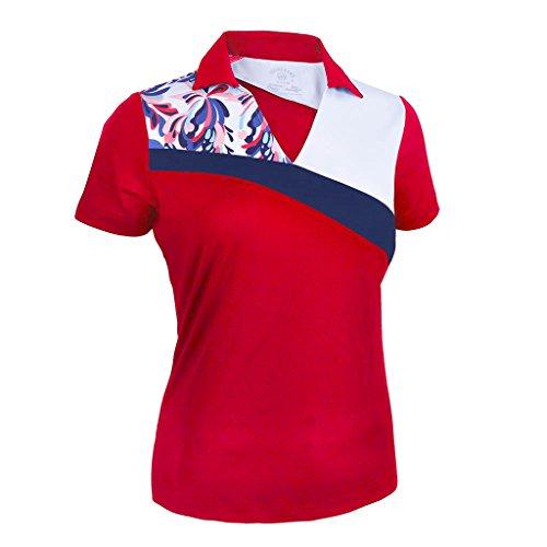 Monterey Club Women's Fountain Floral Print Block Polo Shirt #2344 (Red/White, Medium)