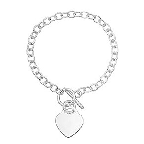Vincenza Personalised Engraved Name Heart Charm Bracelet T-Bar Engraved Free Name Or Date
