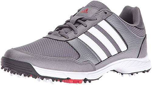 adidas Men's Tech Response Golf Shoe, Iron Metallic/White, 12 W US