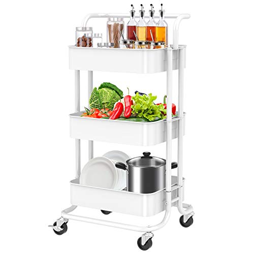 3 Tier Rolling Cart with Wheels White Metal Utility Cart with Handle Rolling Storage Organizer Trolley Cart for Kitchen, Office, Home, School by FURNINXS
