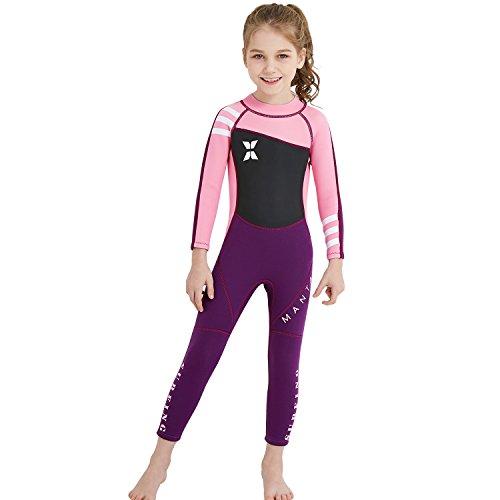 GWELL Mädchen Kinder Neoprenanzug 2.5MM Neopren Langarm Wärmehaltung Tauchanzug Badeanzug Wetsuit für Wassersport Schwarz-Rosa L