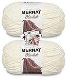 Bernat Blanket Yarn - Big Ball (10.5 oz) - 2 Pack with Pattern Cards in Color (Vintage White)