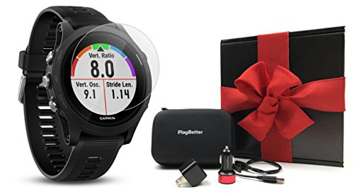 Garmin Forerunner 935 (Black) Gift Box Bundle | Includes HD Screen Protectors Film (x4), PlayBetter USB Car/Wall Adapters, Protective Case | GPS Multi-Sport Running Watch, Wrist HR | Black Gift Box