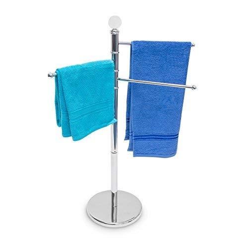Relaxdays Handtuchständer mit 3 beweglichen Handtuchstangen für Badetücher und andere Textilien Handtuchhalter in Edelstahl-Optik mit schwenkbaren Stangen auch als kleiner Kleiderständer, silber