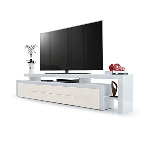 Vladon TV Board Lowboard Leon V3, Korpus und Überbau in Weiß Hochglanz/Front in Creme Hochglanz mit Rahmen in Weiß Hochglanz
