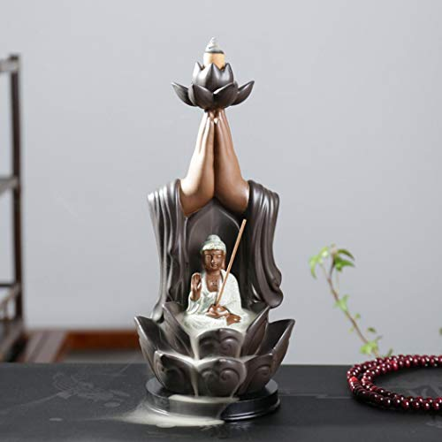 Buddha, Räucherstäbchenhalter, mit Rückfluss, handgefertigt, groß, aus Keramik, mit Kegel, Heimdekoration + 10 Stück, Räucherkegel Buddha, Rückfluss, Räuchergefäß, 1