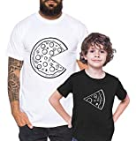 Pizza - Camiseta de Pareja Padre Hijo niño bebé Body cumpleaños - Look de Pareja, Größe2:S, T-Shirts:Camiseta Hombre Blanco