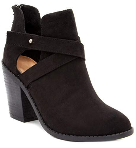 Sugar Women's Venti Transitional Block Heel Ankle Boot Ladies Bootie with Criss Cross Straps and Back Zip Black 6.5