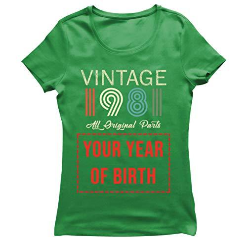 lepni.me Camiseta Mujer Personalizado con Cualquier Año Regalo Vintage Todas Las Piezas Originales (Large Verde Multicolor)