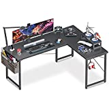 "ODK L Shaped Desk, 59"" Computer Corner Desk, Gaming Desk, Home Office Writing Desk with Monitor Stand, Space-Saving Workstation Desk, Modern Simple Wooden Desk, Easy to Assemble, Black"