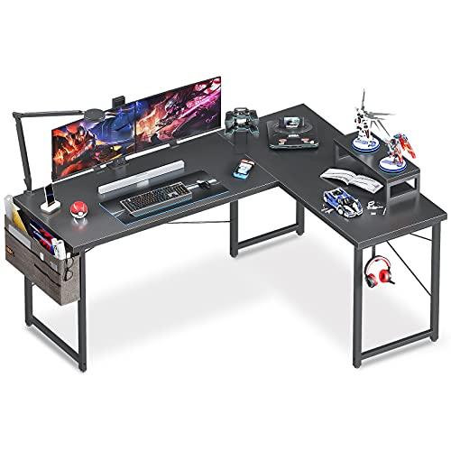 ODK L Shaped Desk, 59' Computer Corner Desk, Gaming Desk, Home Office Writing Desk with Monitor Stand, Space-Saving Workstation Desk, Modern Simple Wooden Desk, Easy to Assemble, Black