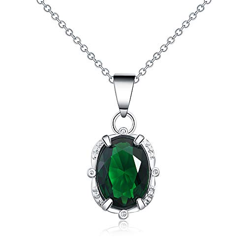 Goldenchen Fashion Jewelry 925 Sterling Silver Oval Green Simulated Emerald Pendant Necklace