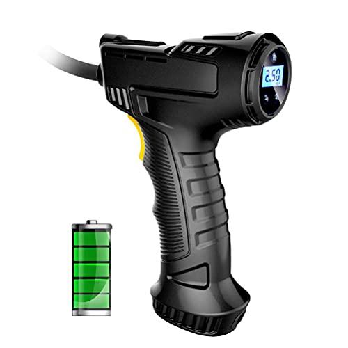 MAOBU Inflador de neumáticos inalámbrico, compresor de Aire Recargable USB de Mano de 120 W, indicador de presión de Bomba de Aire Inflable con Pantalla Digital de luz LED para neumáticos