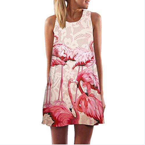 MEILINVREN Kleider, Frauen Mode Kleid, Ärmelloses Undicht Schulter Sommerkleid, O-Neck and Lose Mini Chiffon Kleid, Cartoon Flamingo 3D Drucken Vestidos Weibliche Kleidung, Photo Color, XXL