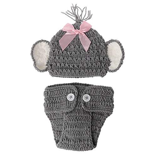Youngy Boné de bebê, chapéu de crochê Born Baby Elephant tricotado fantasia fotografia roupa acessório para fotografia - menina