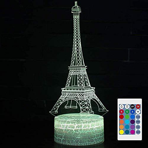 Luz de noche LED de ilusión 3D, 16 colores, interruptor táctil gradual, cable USB, lámpara de mesa para regalo de cumpleaños o decoración del hogar y juguetes para niños