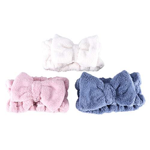 Frcolor bowknot pelo bandas elásticas coral felpa maquillaje cara Wash ducha diadema para mujer chica 3 Unidos (azul rosa blanco)