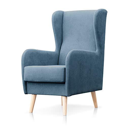 SUENOSZZZ-ESPECIALISTAS DEL DESCANSO Sillón nórdico Modelo Narex para Dormitorio o salón, butaca de Estilo escandinavo tapizado en Tela Antimanchas Azul